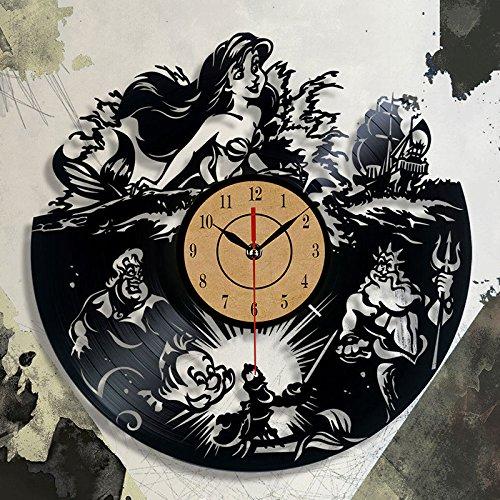 Lianlili Reloj de diseño de Moda CD Vinyl Record Reloj de Pared El pequeño Tema 3D Relojes Colgantes Duvar Saat Decoracion (Color : Black, Sheet Size : 30cm)