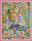 QINHU La Mujer Elegante Tela de la impresión de la Lona 11CT 14CT DMC Punto de Cruz Kit de Serie para Principiantes Decoración Bordado,RA221,Tela Impresa 14CT
