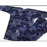 【乱菊と唐草・紺】 義若オリジナルの鯉口シャツ単品 男女兼用 (L 大サイズ)