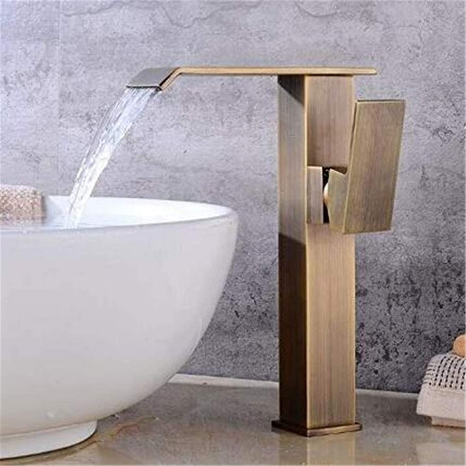 Double Handlefaucets Basin Mixer Faucet Bathroom Basin Hot and Cold Faucet Waterfall Single-Hole Washbasin Faucet