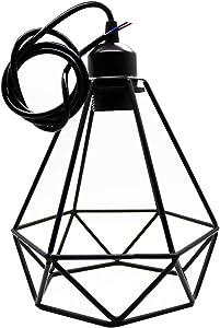 2 lampade a sospensione industriali, vintage, in metallo, stile retrò, a forma di gabbia, lampada creativa, paralume E27, a forma di diamante, in ferro, struttura in metallo