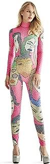 Kigcos Women's Sexy Long Sleeve Turtleneck Print Rhinestone Bodycon Jumpsuit Clubwear