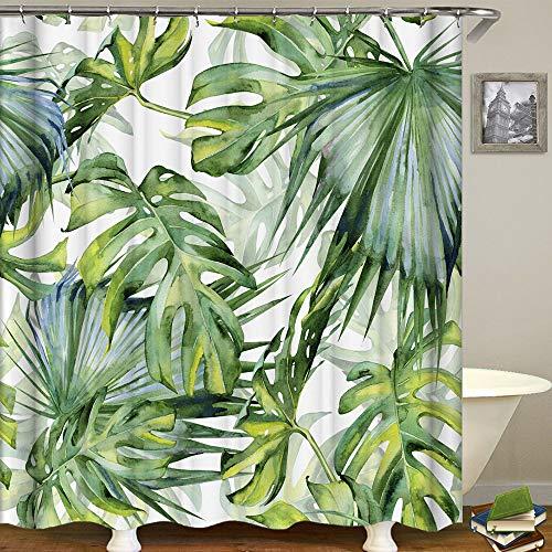 Duschvorhang Blätter, Duschvorhang Grün Wasserdicht Anti Schimmel Duschvorhang Dschungel Tropischer Betriebs duschvorhang mit 12 Haken 180 * 180CM (Stil 7, Blätter)