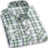 Camisas Hombre Manga Larga,Camisa A Cuadros De Manga Larga para Hombre Rayas Clásicas A Cuadros Azul Verde Camisas Casuales De Algodón con Bolsillo Botones con Botones Padre