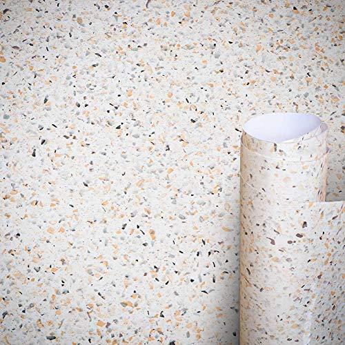 AWNIC Klebefolie Terrazzo Möbelfolie Selbstklebend Dekorfolie Fensterbank Küchenarbeitsplatte Schrankfolien Wasserfest 500x60cm