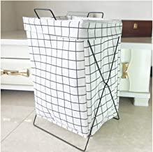 XinQing-Storage basket Iron frame folding hamper storage basket dirty clothes storage basket clothing storage bucket 50 * ...