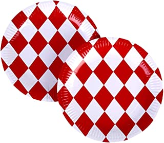 Aliyaduo 60 PCS Red and White Checkered Picnic Plate 9