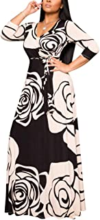 Women's Wrap V Neck Plus Size Maxi Dresses 3/4 Sleeves Chain Floral Printed Swing Dress with Belt
