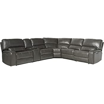 Amazon.com: ACME Saul Sectional Sofa (Power Motion/USB Dock) - - Gray Leather-Aire: Furniture & Decor