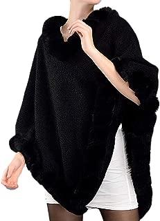 Helan Women's V-Neck Faux Fur Cloak Cape Coat Faux Fur Shawl Wrap