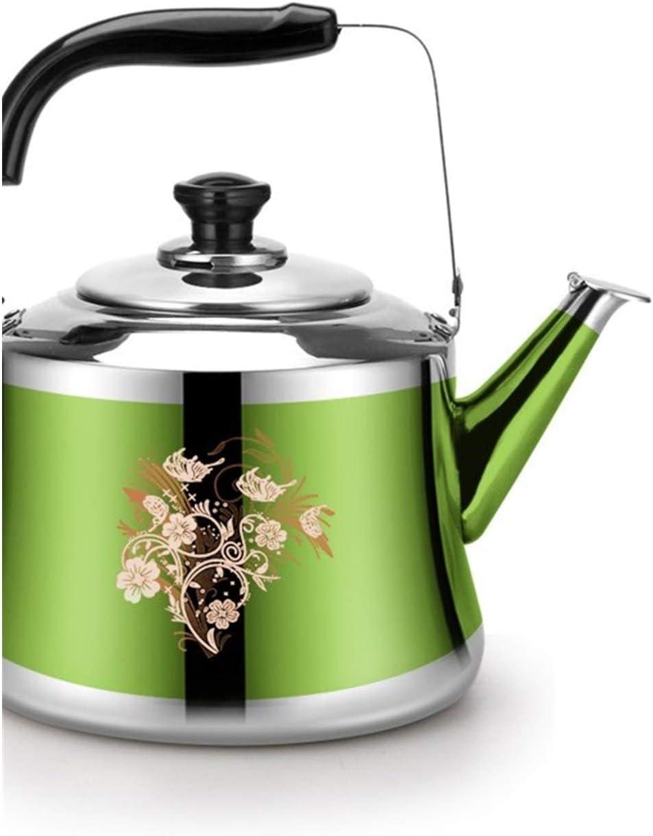 Bouilloire Bouilloire en acier inoxydable grande capacité automatique bouilloire Épaississement Whistling Kettle Cuisinière au gaz Universal Bouillotte (Color : Light Grey) Green