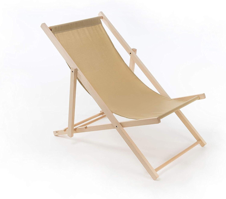 Vlettino Prendisole Lettino da Spiaggia Azzurro Sedia da Giardino Comodo Classic Elegante Sdraio in Legno di Faggio Mare Pieghevole Piscina