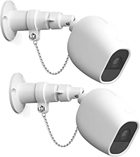 Anti-Theft Mount and Case for Arlo Pro and Arlo Pro 2 Camera, Outdoor Security Chain Lock Wall Mount with Protective Silicone Cover Skin, 2 Set, White