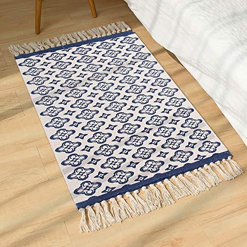 SHACOS Alfombra de algodón Tejidas Alfombras algodón Lavable a máquina con Borla,Alfombras Salon Vintage Azul para Dormitorio Cocina 60 x 90 cm