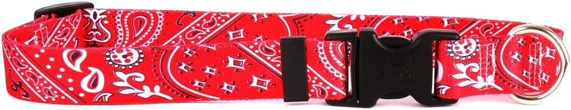 "Yellow Dog Design Bandana Red Dog Collar Fits Neck 14 To 20"", Medium 1"" Wide"