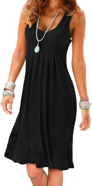 Jouica Women's Casual Summer Tank Knee Sleeveless Length Lowest price challenge Pleated Alternative dealer