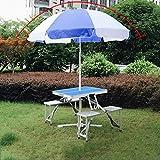 ZEZHOU Silla Plegable integrada Conjunto de Mesa y con el Parasol/Contiene Jardín Maleta Set Tabla 4 taburetes de Aluminio/Picnic Acampar al Aire Libre Tabla Tabla Resistente a la Intemperie