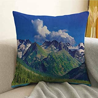 Woodland Bedding Soft Pillowcase Lake in Altai Mountains Highlands Clouds Sunny Summer Day Travel Attraction Hypoallergenic Pillowcase W16 x L24 Inch Blue Green Aqua