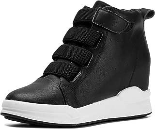 Women's Casual Platform High-Top Sneaker Hidden Heel Wedge School Shoes for Young Lady Girl
