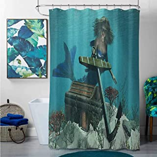 homecoco Shower Curtains for Bathroom Sets red Mermaid,Mermaid in Ocean Sea Discovering Pirates Treasure Chest Mythical Art Print, Azure Brown Cream,W36 x L72 Cotton Christmas Shower Curtain