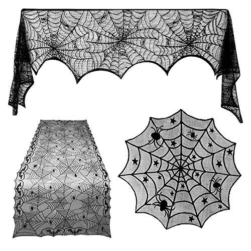 TUPARKA 3 Pezzi Decorazioni di Halloween Set, Spiderweb Rettangolare Spidery Bat Lace Tovaglia, Spiderweb Round Lace Copertura del Tavolo e Camino Sciarpa Cover per Halloween Party