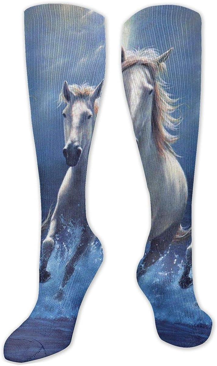 Beautiful White Horse Blue Knee High Socks Leg Warmer Dresses Long Boot Stockings For Womens Cosplay Daily Wear