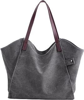 PB-SOAR Damen Canvas Shopper Schultertasche Tasche Handtasche Beuteltasche (Grau)