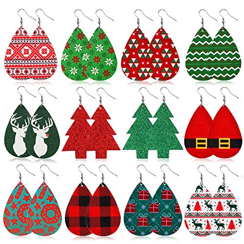 Christmas Faux Leather Earrings for Women Teardrop Dangle Earrings Petal Drop Earrings...