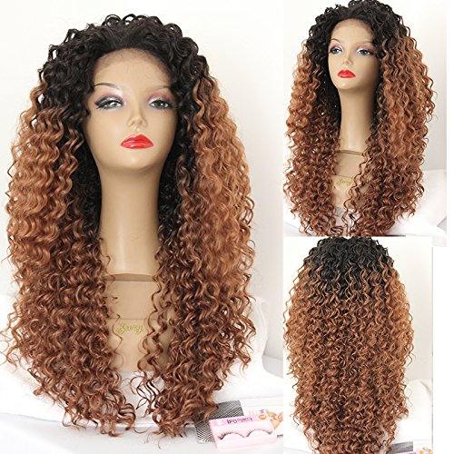 """PlatinumHair #130 ombre kinky curly wigs synthetic lace front wigs heat resistant synthetic wigs 24"""""""