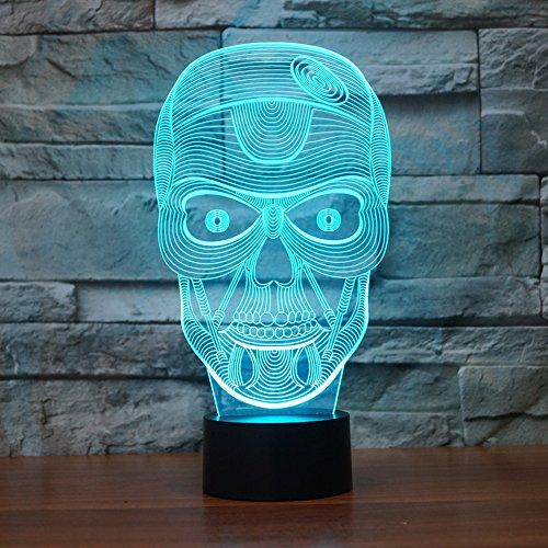 Halloween calavera 3d luz nocturna Touch mesa lámparas de escritorio para regalos de Navidad, Elstey 7luces que cambian de Color con acrílico soporte de & ABS Base de batería y cargador USB