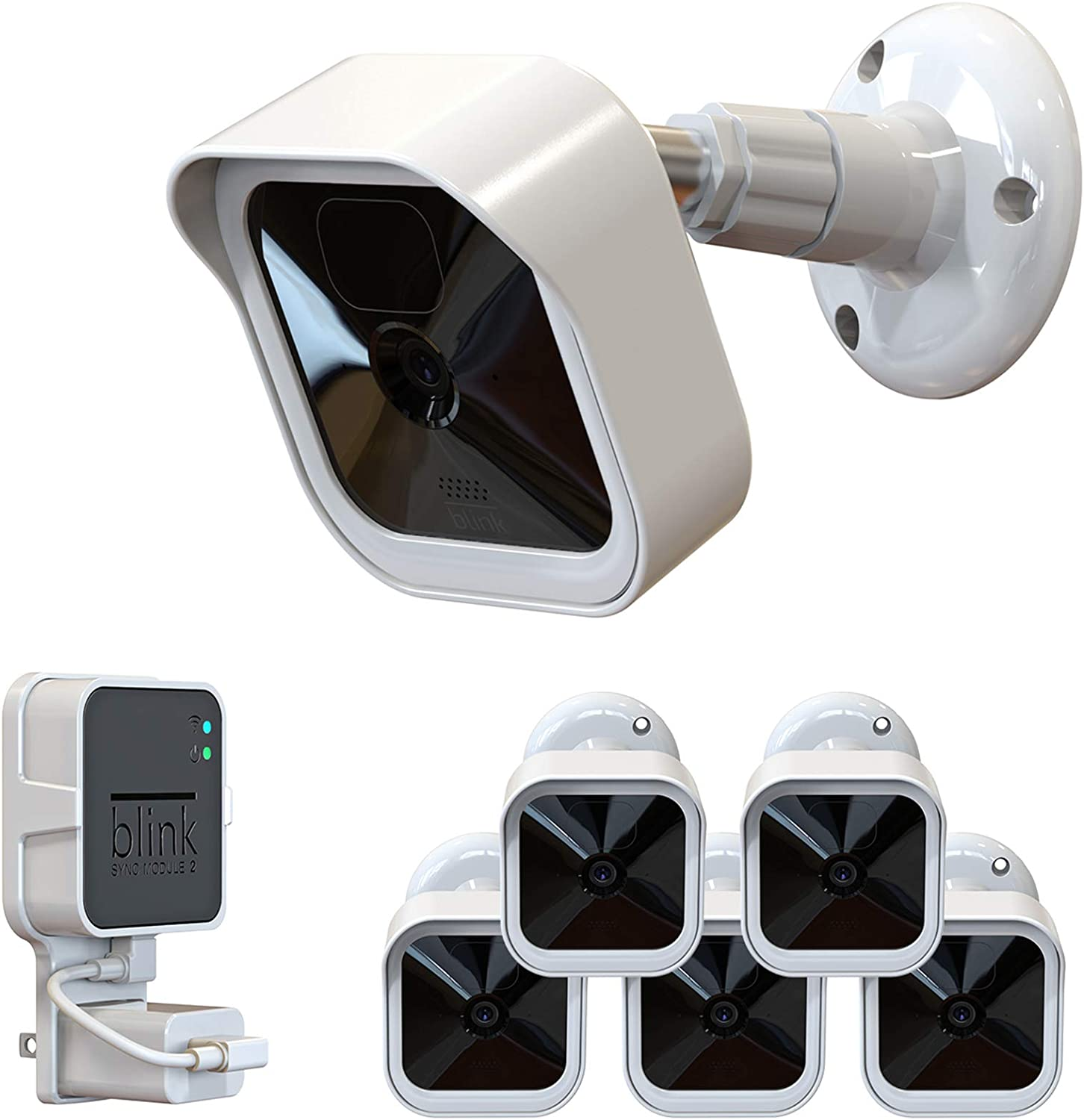 Blink Outdoor Wall Mount, Weatherproof Protective Cover and 360 Degree Adjustable Mount with Blink Sync Module 2 Outlet Mount for All-New Blink Outdoor Indoor Security Camera System (White, 5 Pack)