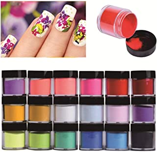 HitHopKing 18 Colors Acrylic Powder Set for Nail Art 3D DIY Tips decoration