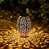 2 Pack Solar Lanterns, OxyLED Christmas Solar Garden Lights Outdoor, Hanging LED Lanterns Solar Powered with Handle Waterproof, Decorative Retro Metal Solar Lights for Table Patio Yard Pathway Walkway