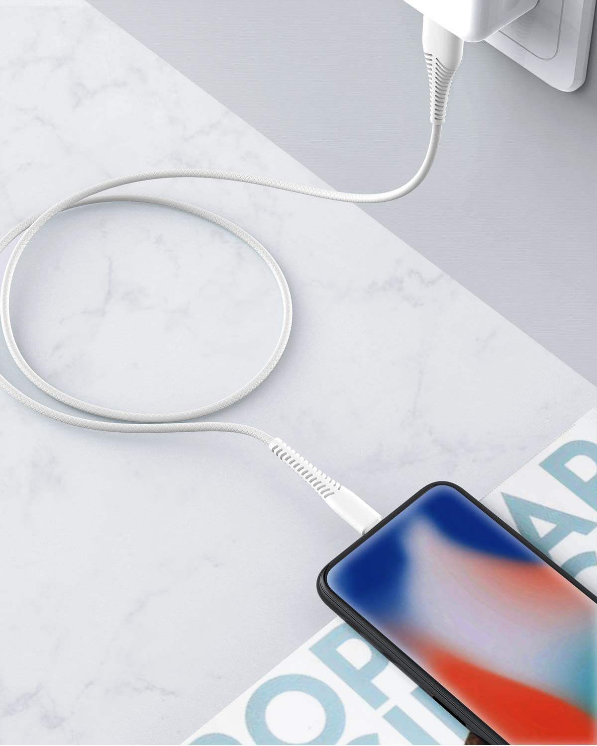 High Fast//Data Sync iPhone Charging Cable Lead for iPhone 11//11Pro//11Max//XS//XR//XS Max//8//7//6//5S//SE iPad White iPhone Charger cable 3M CABEPOW【MFi Certified】2Pack 10ft Long Lightning Cable