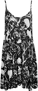 Forever Womens Strap Rose Skull Check Spicy Boom Print Swing Dress