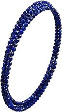 新宿銀の蔵 [高 品 質] 2mm 天然 ラピスラズリ レディース フリーサイズ バングル 3連 ブレスレット アンクレット 形状記憶ワイヤー 天然石