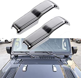2pcs Car ABS Engine Hood Hinge Cover Decoration Cover Sticker Frame Styling Cover Exterior Accessories for 2018-2020 Jeep Wrangler (Sivler)
