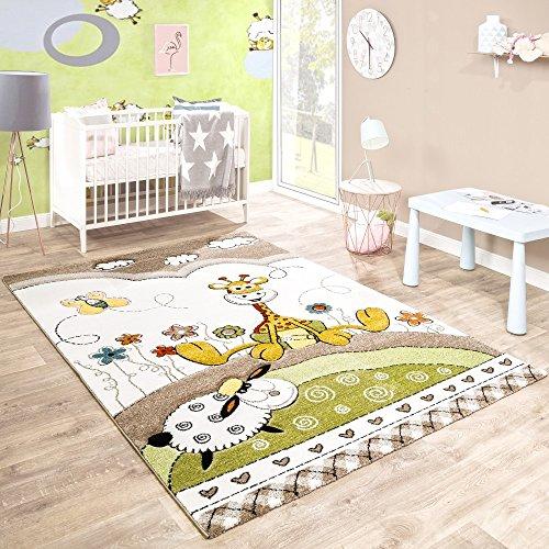 Paco Home Alfombra De Habitación Infantil Contorneada Bebé Jirafa En Beige Crema Colores Pastel, tamaño:80x150 cm