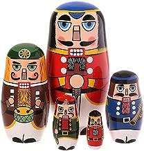 KOBWA Russian Matryoshka Nutcracker 5 Layers Hand Painted Handmade Wooden Nesting Dolls Birthday Christmas New Year Gift Home Decoration