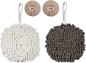 Set Of 2 Gray Towels Round Hand Towels With Coconut Shell Button For Hanging Kitchen Towels With Hanging Loop Absorbent Bamboo Fiber Bathroom Hand Towels Soft Hand Towels For Kitchen Home
