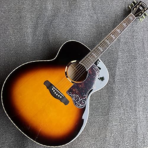 Gitara Gitara akustyczna, stały panel świerkowy, kolor zachodu słońca, marka własna Instrument muzyczny HQYYDS. (Color : Guitar, Size : 43 inches)