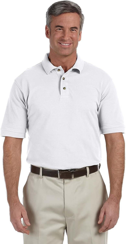 Harriton Tall 6 oz. Ringspun Cotton Piqué Short-Sleeve Polo (M200T)- WHITE,3XT