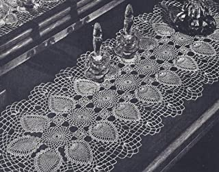 Vintage Crochet Pattern to make - Pineapple Vanity Set Doily Runner. NOT a finished item. This is a pattern and/or instructions to make the item only.