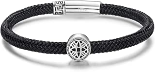 Carleen 925 Sterling Silver Energy Bead Charm Mens Waterproof Rope Bracelet Braided Wire Push Button Locking Clasp Jewelry Gifts for Men Boys, 8.3
