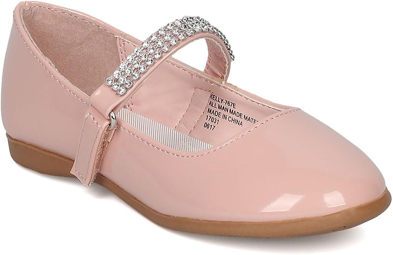 Patent Leatherette Round Toe Rhinestone Mary Jane Ballerina Flat (Toddler/Little Girl) CA04