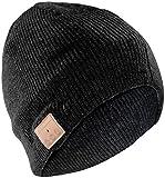 Callstel Mütze mit Kopfhörer: Beanie-Mütze, integriertes Headset mit Bluetooth, FM-Radio, schwarz (Mütze mit Lautsprecher)