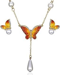 Elegant Enamel Butterfly Jewelry Set, Fashion Charm Gold Plated Crystal Rhinestone Imitation Pearl Water Drop Butterfly Pendant Necklace Stud Earrings for Women Girl