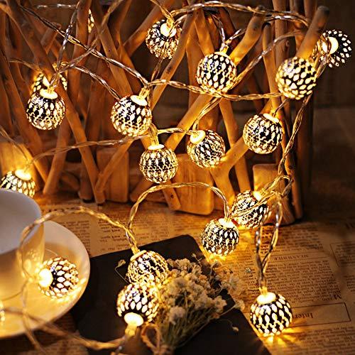 Qsnn Marokkanische Lichterkette Außen 6M 40 LED Lichterkette Batterie Kugeln Orientalisch Weihnachtslichterkette Aussen/Innen Marokkanische Lampe Deko für Weihnachten Hochzeit Garten - Warmweiß