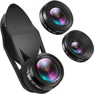 AMIR Phone Camera Lens, 230°Fisheye Lens, 0.65X Super Wide Angle Lens, 15X Macro Lens, Clip on 3 in 1 HD for iPhone Lens K...