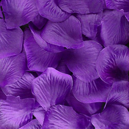 Super Z Outlet Silk Fabric Flower Mini Rose Petals for Weddings (1000 Pieces) (Purple)